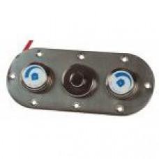 Плато пневмокнопки с двумя регуляторами, ответная часть, нерж.сталь