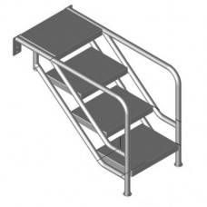 Лестница MIAMI 08.3, подв. размещ., 6-ст., ст. нерж. сталь 500х360 мм (фланц. креп.), AISI 316